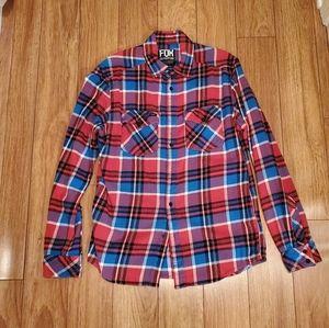 Fox Plaid Flannel Shirt Medium